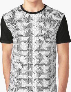 Maze Print - Black and White Graphic T-Shirt