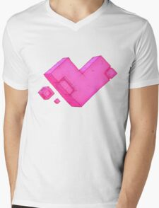 Cubic Heart Mens V-Neck T-Shirt