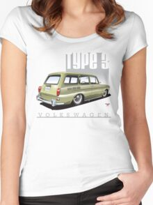 VW Squareback in Safari Beige Women's Fitted Scoop T-Shirt
