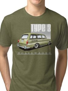 VW Squareback in Safari Beige Tri-blend T-Shirt