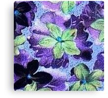 Vintage Floral Green and Purple Violets Canvas Print