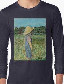 Surveying The Farm, Black Frame Long Sleeve T-Shirt
