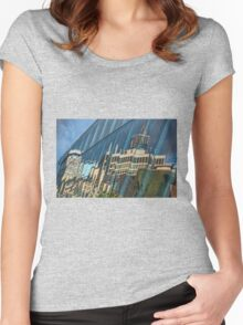 Streetscape Reflected on Surface of the AGO Women's Fitted Scoop T-Shirt