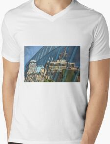 Streetscape Reflected on Surface of the AGO Mens V-Neck T-Shirt
