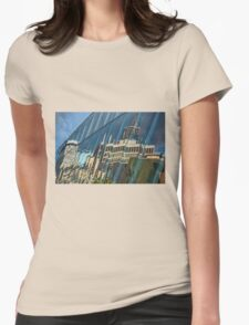 Streetscape Reflected on Surface of the AGO Womens Fitted T-Shirt
