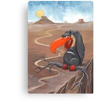 Vulture standing guard over desert Canvas Print