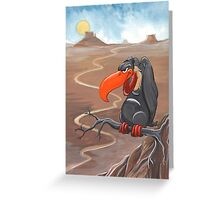 Vulture standing guard over desert Greeting Card