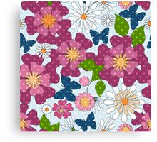 Seamless texture with purple flowers style summer, retro, beach Canvas Print