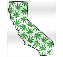 California (CA) Weed Leaf Pattern Poster