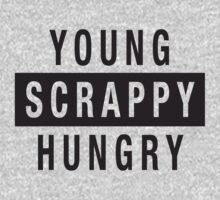 Young Scrappy and Hungry - Black Type on White One Piece - Long Sleeve