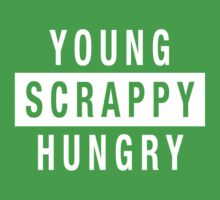 Young Scrappy and Hungry - White Type on Black One Piece - Short Sleeve