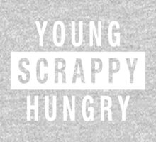 Young Scrappy and Hungry - White Type on Black One Piece - Long Sleeve