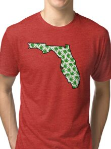 Florida (FL) Weed Leaf Pattern Tri-blend T-Shirt