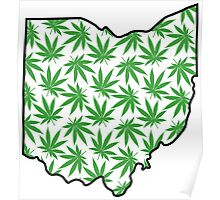 Ohio (OH) Weed Leaf Pattern Poster