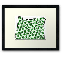 Oregon (OR) Weed Leaf Pattern Framed Print