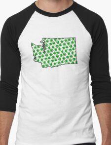 Washington (WA) Weed Leaf Pattern Men's Baseball ¾ T-Shirt
