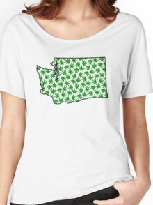 Washington (WA) Weed Leaf Pattern Women's Relaxed Fit T-Shirt