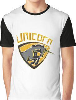 Black Unicorn Horse Head Charging Crest Retro Graphic T-Shirt