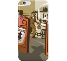 Cowboy Robber Stealing Saloon Poster iPhone Case/Skin