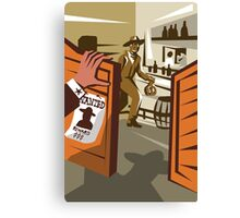 Cowboy Robber Stealing Saloon Poster Canvas Print