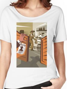 Cowboy Robber Stealing Saloon Poster Women's Relaxed Fit T-Shirt