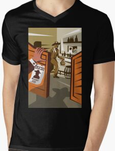 Cowboy Robber Stealing Saloon Poster Mens V-Neck T-Shirt