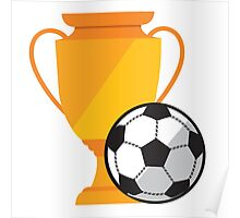Soccer illustration, ball with cup Poster