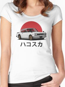 Nissan Skyline GT-R hakosuka (white) Women's Fitted Scoop T-Shirt