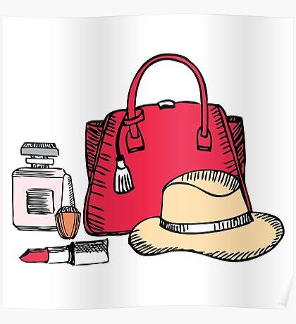 Elegance girlish illustration with bag and hat Poster
