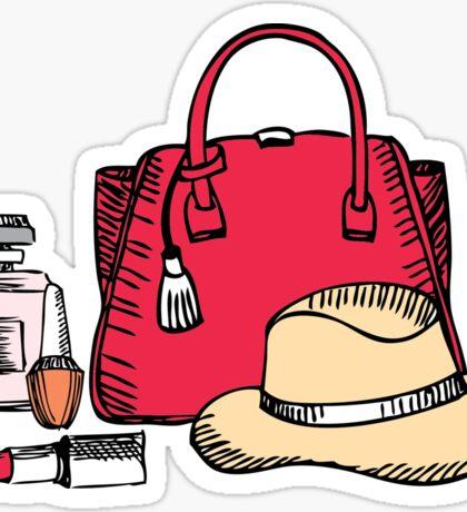 Elegance girlish illustration with bag and hat Sticker