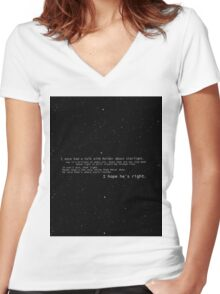 I once had a talk with mulder about starlight... Women's Fitted V-Neck T-Shirt