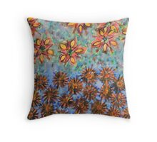 Asters and Paradise Flowers Throw Pillow