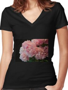 Pink Peony Passion Women's Fitted V-Neck T-Shirt