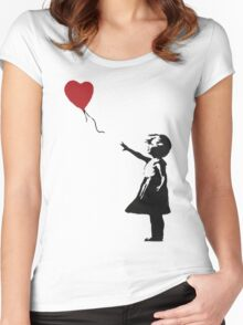 Banksy Heart - ONE:Print Women's Fitted Scoop T-Shirt