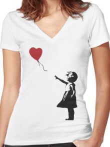 Banksy Heart - ONE:Print Women's Fitted V-Neck T-Shirt