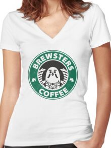 Brewsters Coffee (distressed) Women's Fitted V-Neck T-Shirt