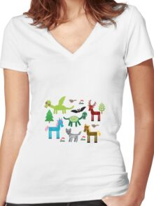 Seamless pattern with funny dragons, bats, unicorn, horse, deer, bird, wolf Women's Fitted V-Neck T-Shirt