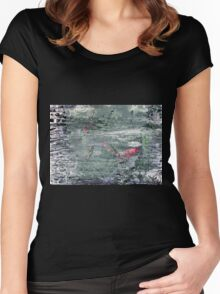 In the Darkness of the Night - Original Wall Modern Abstract Art Painting Original mixed media Women's Fitted Scoop T-Shirt