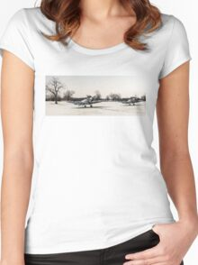 Spitfires in the snow Women's Fitted Scoop T-Shirt