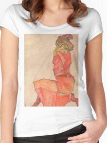 Egon Schiele - Kneeling Female in Orange-Red Dress 1910 Woman Portrait Women's Fitted Scoop T-Shirt