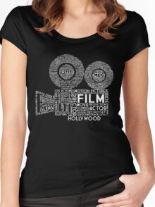Film Camera Typography - White Women's Fitted Scoop T-Shirt