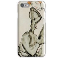 Egon Schiele - Kneeling Woman with a Gray Cape Wally Neuzil 1912 Woman Portrait iPhone Case/Skin