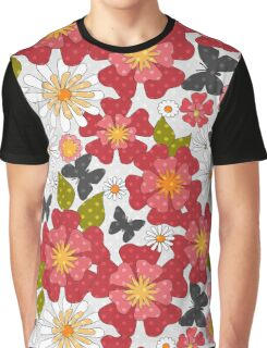 Seamless texture with red flowers style summer, retro, beach Graphic T-Shirt