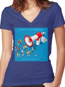 Social Promotion Concept Isometric Women's Fitted V-Neck T-Shirt