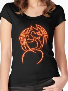 Dragon neon rouge 3 Women's Fitted Scoop T-Shirt