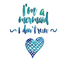 Modern watercolor funny mermaid typography Photographic Print