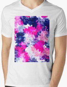 Modern pink purple watercolor brushstrokes Mens V-Neck T-Shirt