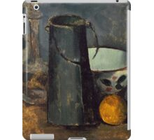 Paul Cezanne - Still Life with Carafe, Milk Can, Bowl, and Orange 1879-1880 iPad Case/Skin