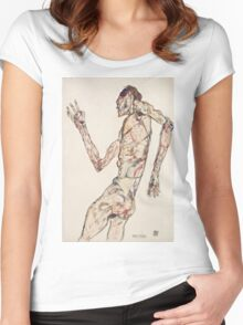 Egon Schiele - The Dancer 1913  Expressionism  Portrait Women's Fitted Scoop T-Shirt
