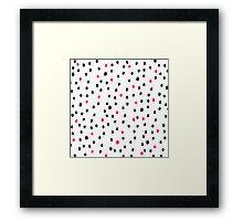 Modern neon pink black polka dots illustration Framed Print